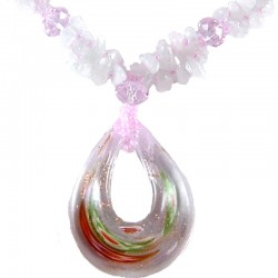 Natural Stone Rose Quartz Pink Glass Teardrop Necklace