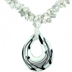Natural Stone White Howlite White & Black Line Glass Teardrop Necklace