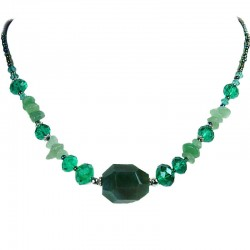 Simple Everyday Costume Jewellery, Thank You Gift, Fashion Green Bead Natural Stone Aventurine Necklace