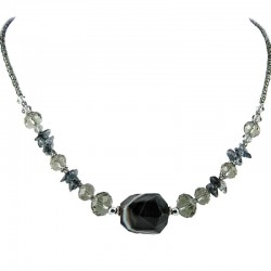 Grey Bead Natural Stone Black Onyx Necklace