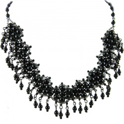 Black Fashion Pearl Modern Link Pearls Dangling Necklace