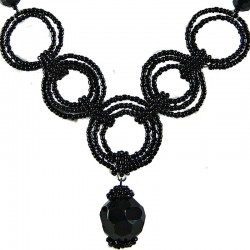 Jet Black Bead Hoop Link Circle Loop Beaded Necklace