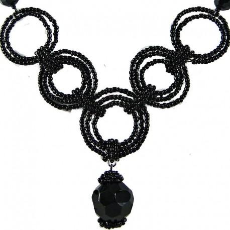 Handmade Costume Jewellery, Handcrafted Fashion Women's Gift, Jet Black Bead Hoop Link Circle Loop Beaded Necklace