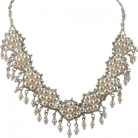 Women's Fashion Jewellery Gift, Pink Fashion Faux Pearl Modern Link Pearls Dangling Costume Necklace