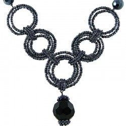 Fashion Handmade Costume Jewellery, Handcrafted Women's Gift, Black & Grey Bead Hoop Link Circle Loop Beaded Necklace