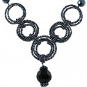 Black & Grey Bead Hoop Link Circle Loop Beaded Necklace