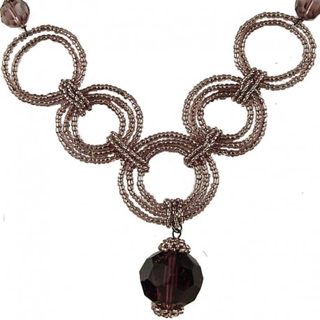 Fashion Handmade Costume Jewellery, Handcrafted Women's Gift, Chic Purple Bead Hoop Link Circle Loop Beaded Necklace