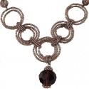 Purple Bead Hoop Link Circle Loop Beaded Necklace