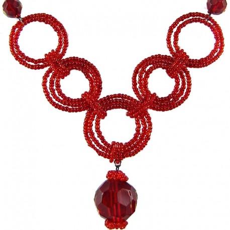Handcrafted Costume Jewellery, Handmade Women's Gift, Red Bead Hoop Link Circle Loop Beaded Necklace