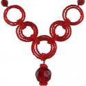 Red Bead Hoop Link Circle Loop Beaded Necklace
