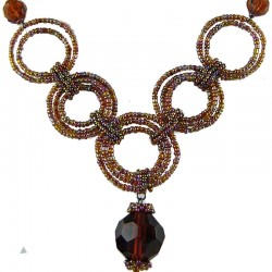 Handcrafted Costume Jewellery, Fashion Handmade Women's Gift, Brown Bead Hoop Link Circle Loop Beaded Necklace