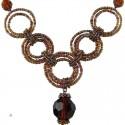 Brown Bead Hoop Link Circle Loop Beaded Necklace