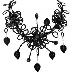 Black Bead Floral Phoenix Beaded Bib Statement Necklace