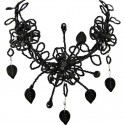 Black Bead Floral Phoenix Beaded Bib Statement Necklace