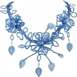 Blue Bead Floral Phoenix Beaded Bib Statement Necklace