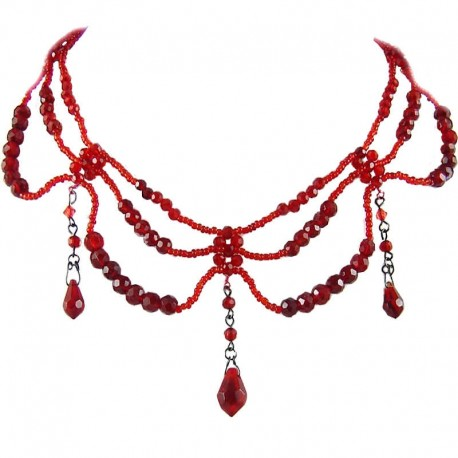 Fashion Statement Costume Jewellery, Handcrafted Women's Gift, Red Bead Wave Beaded Cascade Choker Dangle Necklace
