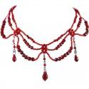 Red Bead Wave Beaded Cascade Choker Dangle Necklace