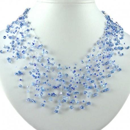 Handmade Costume Jewellery, Handmade Blue Illusion Bead Cascade Choker Bib Statement Floating Necklace