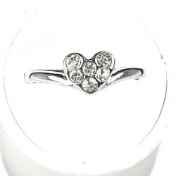 Simple Costume Jewellery Rings, Fashion Women Girls Gift, Clear Diamante Heart Dress Ring