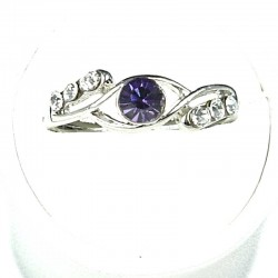 Simple Costume Jewellery Rings, Fashion Women Girls Gift, Purple & Clear Diamante Twist Dress Ring