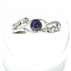 Simple Costume Jewellery Rings, Fashion Women Girls Gift, Purple & Clear Diamante Twist Dress Ring
