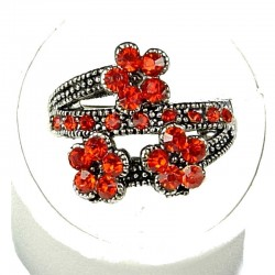 Cute Costume Jewellery Rings, Fashion Young Women Girls Gift, Red Diamante Triple Flower Ring