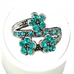 Cute Costume Jewellery Rings, Fashion Young Women Girls Gift, Aqua Blue Diamante Triple Flower Ring
