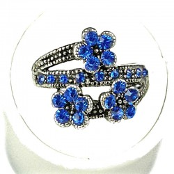 Cute Costume Jewellery Rings, Fashion Young Women Girls Gift, Royal Blue Diamante Triple Flower Ring