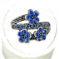 Cute Costume Jewellery Rings, Fashion Young Women Girls Gift, Royal Blue Diamante Triple Flower Ring