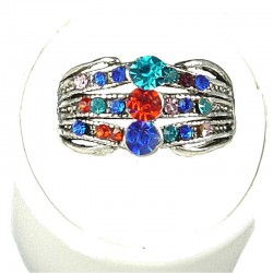 Classic Costume Jewellery Rings, Fashion Young Women Girls Gift, Multi Coloured Diamante Triple Row Band Ring