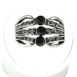 Classic Costume Jewellery Rings, Fashion Women Girls Gift, Black Diamante Triple Row Band Ring