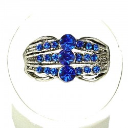 Classic Costume Jewellery Rings, Fashion Women Girls Gift, Royal Blue Diamante Triple Row Band Ring