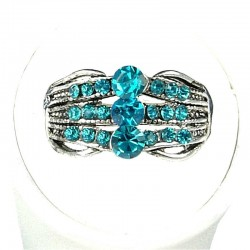 Classic Costume Jewellery Rings, Fashion Women Girls Gift, Aqua Diamante Triple Row Band Ring