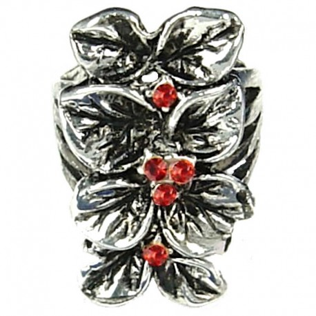 Flower Costume Jewellery Rings, Fashion Women Girls Gift, Red Diamante Elongated Floral Long Ring