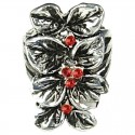 Red Diamante Elongated Floral Long Ring