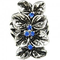 Royal Blue Diamante Elongated Floral Long Ring