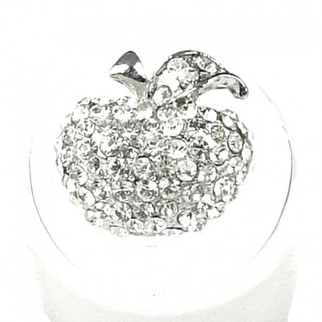 Cute Costume Jewellery Rings, Fashion Young Women Girls Gift, Clear Diamante Pave Apple Ring