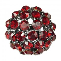 Big Bold Costume Jewellery, Chic Bib Fashion Red Diamante Pave Big Crystal Ball Chunky Statement Ring