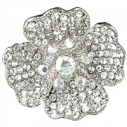 Big Large Bold Statement Costume Jewellery Rings, Fashion Women Gift, Clear Diamante Chunky Lucky Flower Cocktai Ring
