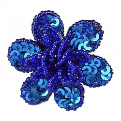 Handcrafted Fancy Bold Bead Costume Jewellery for Fashion Women Party Dress, Royal Blue Sequin Beaded Flower Ring