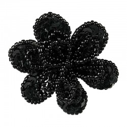 Handcrafted Fancy Bold Bead Costume Jewellery for Fashion Women Party Dress, Black Sequin Beaded Flower Ring
