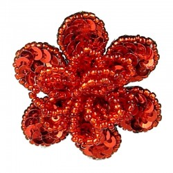 Handcrafted Fancy Bold Bead Costume Jewellery for Fashion Women Party Dress, Red Sequin Beaded Flower Ring