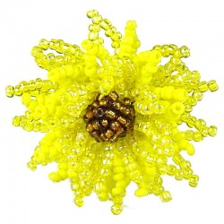 Handcrafted Fancy Bold Bead Costume Jewellery for Fashion Women Party Dress, Yellow Beaded Chrysanthemum Flower Ring