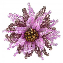 Handcrafted Fancy Bold Bead Costume Jewellery for Fashion Women Party Dress, Hot Pink Beaded Chrysanthemum Flower Ring