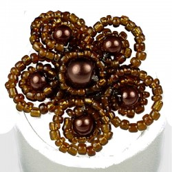 Handcrafted Bead Unique Costume Jewellery, Fashion Women Girls Gift, Brown Beaded Pearl Blossom Flower Ring