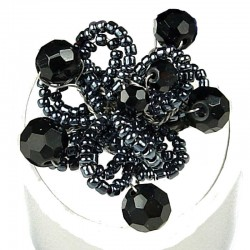 Handcrafted Bead Unique Costume Jewellery, Fashion Women Girls Gift, Black & Grey Beaded Blossom Flower Ring