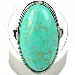 Bold Statment Costume Jewellery, Fashion Women Gift, Turquoise Oval Natural Stone Cocktail Ring