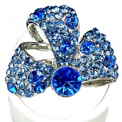 Fancy Bold Statement Costume Jewellery, Fashion Women Gift, Blue Diamante Glory Ribbon Bow Cocktail Ring