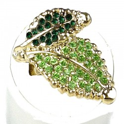 Fancy Dressy Statement Costume Jewellery, Fashion Women Gift, Green Diamante Double Leaf Wrap Gold Ring
