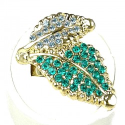 Fancy Dressy Statement Costume Jewellery, Fashion Women Gift, Aqua Blue Diamante Double Leaf Wrap Gold Ring